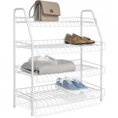 Perfect for any room of your home, this Whitmor 4 Tier Closet Shelves adds instant storage. Its four spacious shelves give you ample space to store. Wire Storage Shelves, Closet Shelves, Hanging Storage, Closet Storage, Closet Organization, Storage Racks, Shoe Racks, Storage Systems, Shelving Units