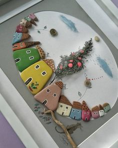 The village rock art. Stone Crafts, Rock Crafts, Diy And Crafts, Crafts For Kids, Arts And Crafts, Pebble Painting, Pebble Art, Stone Painting, Caillou Roche