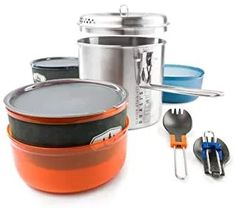 GSI Outdoors Glacier Stainless Dualist Backcountry Set Kitchen Kit, Stainless Steel Pot, Insulated Mugs, Thing 1, Pot Lids, Intelligent Design, Kitchenware, Utensils, Basin