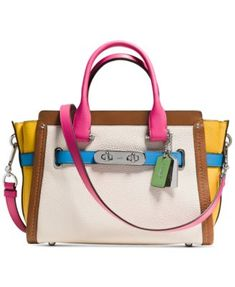 COACH Swagger 27 Carryall in Rainbow Colorblock Leather   macys.com