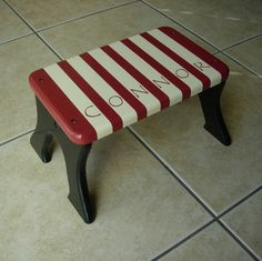 Personalized Step Stool - Striped Red And White Stool - Tip-resistant Step…