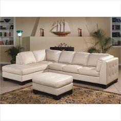 ivory leather sofa   ... Available - Homelegance Tufton Ivory Leather Sectional Sofa - 9958IV