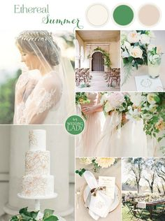 Ethereal Neutral Wedding Ideas for Summer in Ivory and Green