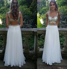 Charming White Chiffon Prom Dress,Sexy Beading Sweetheart Evening Dress,Sexy Sleeveless Prom Dress,Floor Length Evening Dress