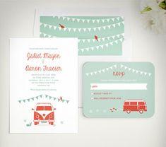 VW Van wedding invitation - Vintage Van wedding by LucyLovesPaper https://www.etsy.com/listing/217563462