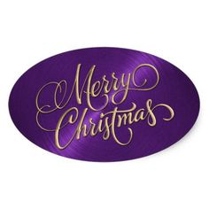 merry christmas purple colour | Merry Christmas Gold and Purple Embossed Look Oval Sticker | Zazzle