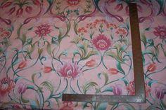 "6 yard bolt Floral Print Cotton Fabric by Cyrus Clark 54"" wide Peach,Mint,Greens #CyrusClark"