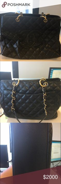 Chanel Classic Black Tote Black caviar leather authentic Chanel, gold  chain. Lightly used. 2b60ccf393