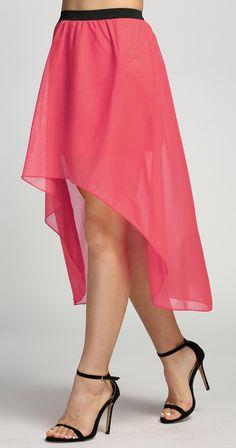 Pink Asymmetrical Chiffon Skirt