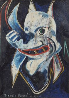 Francis Picabia Monstre, Oil on cardboard - Di Donna Galleries Abstract Painters, Abstract Art, American Art, Native American, Post War Era, Francis Picabia, Mask Painting, French Art, Tribal Art