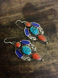 Tibetan earrings - Tibetan Jewelry - Gypsy Earrings - Turquoise Earrings - Ethnic Earrings   - Artisan Handmade by Omanie on Etsy