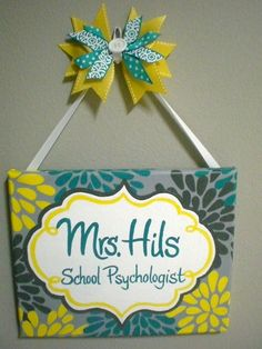 Flower Name Plaque/Sign for Teachers, offices, nurseries, bedrooms, businesses and more. $35.00, via Etsy.
