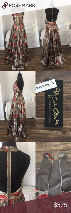 PLS READ DESCRIPTION! Alice and Olivia gown ⭐️ ***PLEASE READ!!! If you love this dress and have an occasion for wearing it, please purchase by tomorrow, August 4th, 2017!! I am leaving the country for 3 months and this item will be on hold until November if I don't sell it today or tomorrow!!***  This amazing gown is new with tags, in perfect condition. It has a shell and lining, very slinky and movable to wear. Gorgeous floral design, with 21 inch racerback zipper. From midline to bottom…