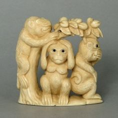 Mammoth Ivory Netsuke 3 Wise Monkey On Tree Carving N4712