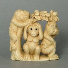 Mammoth Ivory Netsuke 3 Wise Monkey On Tree Carving N4712