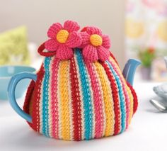 Colourful Teacosy from letsknit.co.uk; free membership required