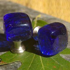Fabulous Colbalt Blue Glass Cabinet Knobs - Blue, Cube, Kitchen, Bathroom, Dark Blue, Glass Knobs via Etsy shop:  KnuckleheadKnobs