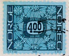 beautiful stamp Noreg 4.00 kr postfrim postzegel Norge blue Norwegen Norway timbre stamp selo franco bollo postage porto sellos marka Briefmarke Norwegen francobollo revenue frankatur by stampolina, via Flickr