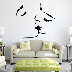 Fange DIY Removable Kissing Lovestruck Lovers Art Mural Vinyl Waterproof Wall Stickers Living Room Decor Bedroom Decal Sticker Wallpaper 224x216 >>> Read more reviews of the product by visiting the link on the image.