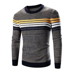 Style: Casual Material: Cotton,Wool Technics: Flat Knitted Collar: O-Neck Sleeve Length: Full Item Type: Pullovers Closure Type: None Thickness: Standard Pattern Type: Striped Wool: Thin Wool Hooded: