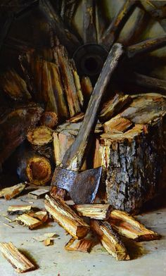 Russian Master: Nikolaev Yury http://www.russianfineart.com/catalog/prod.php?productid=24775  Firewood - oil, canvas