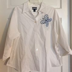 Just In!  Westbound White Cotton Blouse Westbound Woman white cotton blouse with blue embroidered butterfly design. Excellent condition. Three-quarter sleeves. Size 20 W. 55% cotton 45% polyester. Made in Indonesia. Westbound Tops Blouses