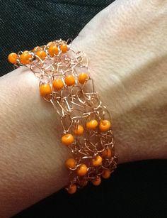 Copper Wire Crochet Bracelet with Orange Glass Bead by artistrcool, $10.00