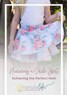 Today, I am going to show you an easy way to hem your circle skirt using bias tape. Since bias tape is cut on the bias it easily stretches around your curves, leaving you a beautifully hemmed skirt. I love how it also adds a fun contrast on the inside of the skirt.
