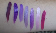 My Purple #Facepaint Swatches L-R #Paradise Wild Orchid #Wolfe Purle - 080 #Tag Neon Purple #Snazzaroo Sparkle Lilac #Tag Pearl Purple #Tag Pear Lilac #Tag Berry Wine