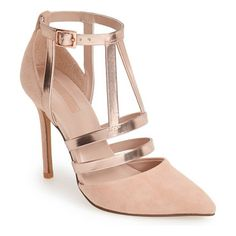 TOPSHOP geneva strappy mixed media pump found on Nudevotion