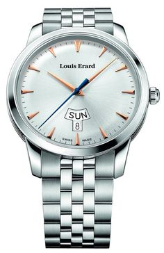 Men watches : Louis Erard Heritage Collection Swiss Quartz Silver Dial Men's Watch 15920AA11.BMA39