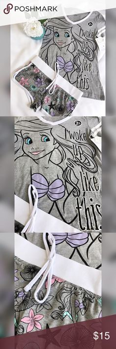 Little Mermaid PJ Set NWT Women's Disney Princess Ariel I Woke Up Like This Tee/Boxer Pajamas Set.   NO LOWBALL OFFERS!                                                                               BRAND NEW WITH TAGS. SOLD AT TARGET.   Cotton and polyester materials.   2-piece set includes short-sleeved top and boxer shorts  Drawstring on shorts gives you a perfect fit.                    Not interested in Trading.  Smoke Free Home.  Pet Free Home.  If you have any questions please message…