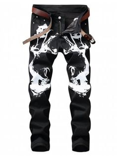 Zipper Fly Graphic Print Jeans