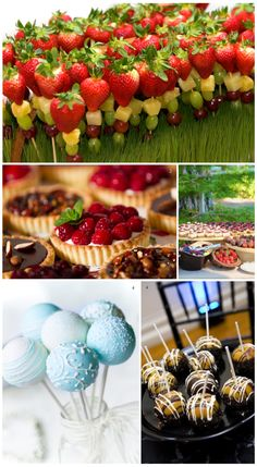 Sweeten up your #wedding with fun desserts - Fruit kabobs, berry tarts, & cake pops