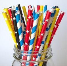 Superhero Birthday Party Star Straws