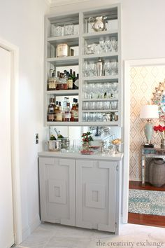 DIY Narrow Built-In Bar with Plans. The Creativity Exchange - love the light depth as shelves seem inset