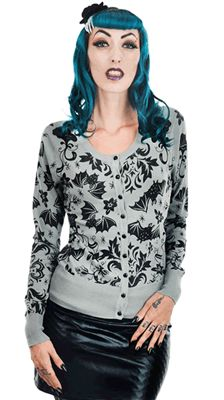 Class it up with this victorian bats and damask printed gothic cardigan sweater.