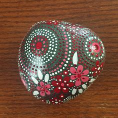 red touch collection #14, painted stone, painted rock, river rock art, home decor, garden art, coffee table art, Mandala design, red & white