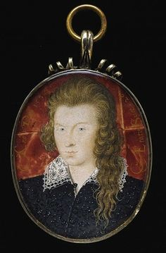 A watercolor miniature of Henry Wriothesley, Earl of Southampton, at the age of 21. The bi-sexual Wriothesly may have been the 'Fair Youth' of Shakespeare's sonnets. He was extremely vain about his hair and in later life was instrumental in the colonization of Virginia.