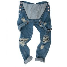 WOLF BLUE AWESOME OVERALLS ($148) ❤ liked on Polyvore featuring jumpsuits, bottoms, jeans, pants, overalls, lined overalls, distressed overalls, overalls jumpsuit, blue bib overalls and denim overalls