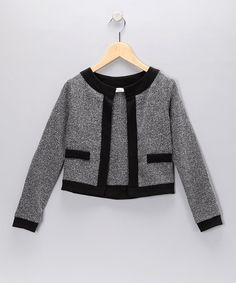 Take a look at this Gray & Black Trim Jacket   by Pinc Premium on #zulily today!