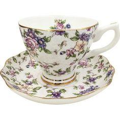 Jsaron China Vintage Formal Flower Porcelain Tea Cup Spoon and Saucer Set