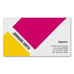 reporter journalist global worldwide enterprise business card