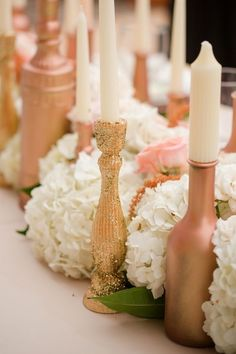 glitter rose gold candlesticks / http://www.deerpearlflowers.com/bronze-copper-wedding-color-ideas/2/