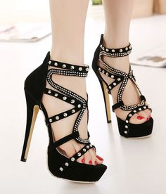 Sexy Rivets Design Black High Heels Shoes