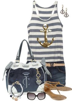 """""""Striped Tank"""" by lmm2nd on Polyvore"""