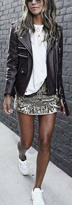 Biker jacket / Sequin skirt / Tee
