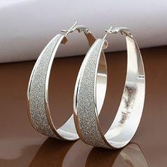 Elegant Fashion Jewelry 925 Silver Plated Stud Dangle Earings Eardrop Big Scrub Wide Oval - Jewelry For Her
