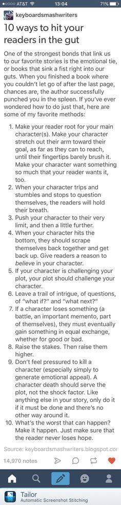 Not a bad list. I personally would disregard the last one. If your character is feeling hopeless, your reader should feel the same.