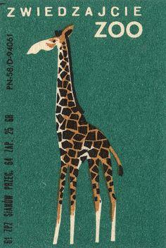 Polish matchbox label for Zwiedzajcie Zoo Eye Illustration, Graphic Design Illustration, Giraffe Illustration, Creepy Cat, Matchbox Art, Vintage Book Covers, Character Design, Art Prints, Artwork